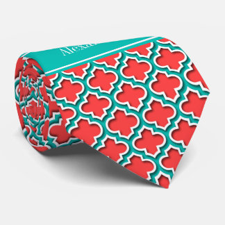 Coral Red, Teal Moroccan #5DS Teal Name Monogram Tie