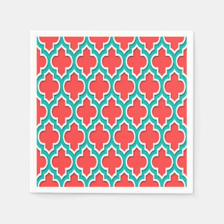 Coral Red Teal White Moroccan Quatrefoil #4DS Paper Napkins