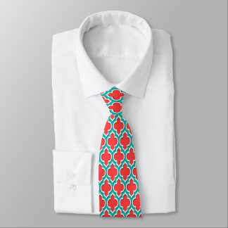 Coral Red Teal White Moroccan Quatrefoil #4DS Tie