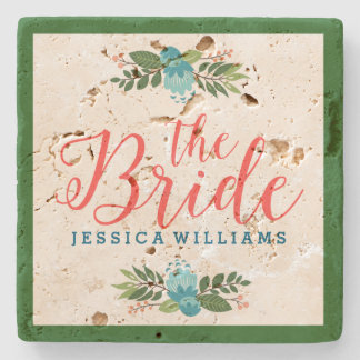 Coral Red-The Bride Modern Text Design Stone Coaster