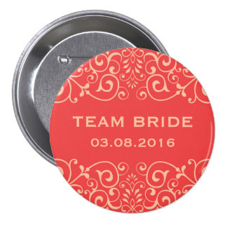 Coral Red Victorian Floral Swirl Team Bride Button
