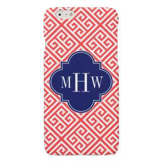 Coral Red W Med Greek Key DiagT Navy Name Monogram Glossy iPhone 6 Case
