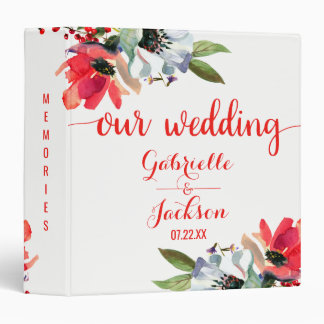 Coral Red Watercolor Floral Wedding Photo Album Binder