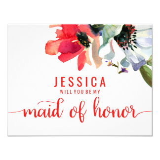 Coral Red Watercolor Will You Be My Maid of Honor Card