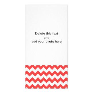Coral Red White Chevron Pattern Card