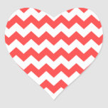 Coral Red White Chevron Pattern Heart Stickers