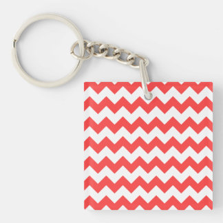 Coral Red White Chevron Pattern Keychain