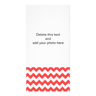 Coral Red White Chevron Pattern Photo Card