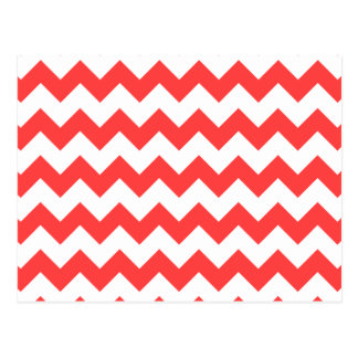 Coral Red White Chevron Pattern Postcard