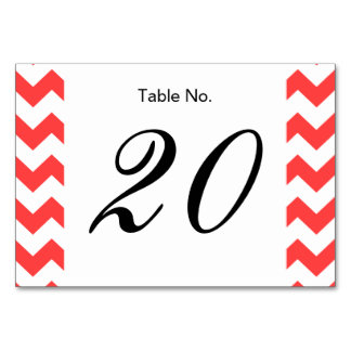 Coral Red White Chevron Pattern Table Card