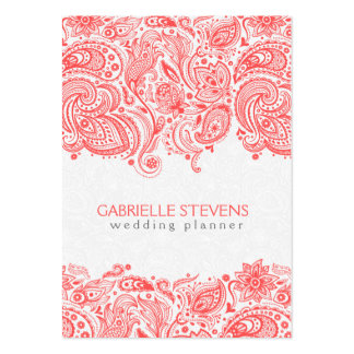Coral-Red & White Floral Paisley Lace Business Card Templates
