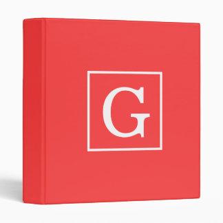 Coral Red White Framed Initial Monogram Vinyl Binders