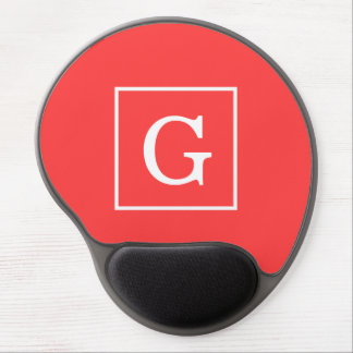 Coral Red White Framed Initial Monogram Gel Mousepads