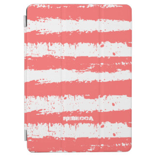 Coral-Red & White Grunge Stripes Pattern iPad Air Cover