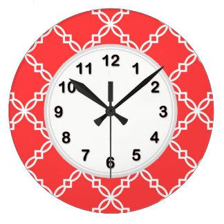 Coral Red White Large Fancy Quatrefoil Pattern Wallclocks