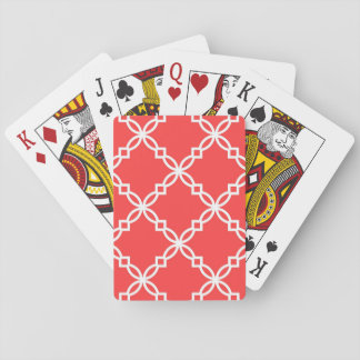 Coral Red White Large Fancy Quatrefoil Pattern Deck Of Cards