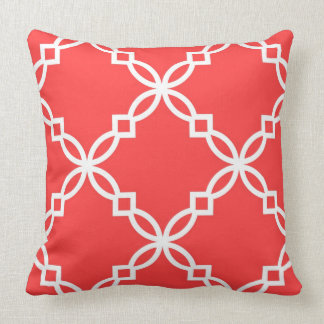 Coral Red White Large Fancy Quatrefoil Pattern Throw Pillow