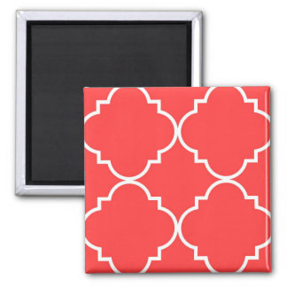 Coral Red White Large Quatrefoil Pattern 2 Inch Square Magnet