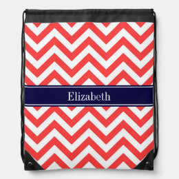 Coral Red White LG Chevron Navy Blue Name Monogram Drawstring Bag