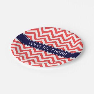 Coral Red White LG Chevron Navy Blue Name Monogram Paper Plate