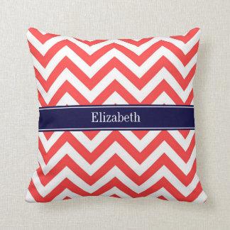 Coral Red White LG Chevron Navy Blue Name Monogram Pillows