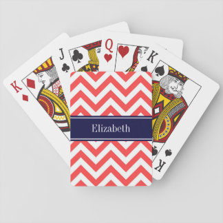 Coral Red White LG Chevron Navy Blue Name Monogram Playing Cards