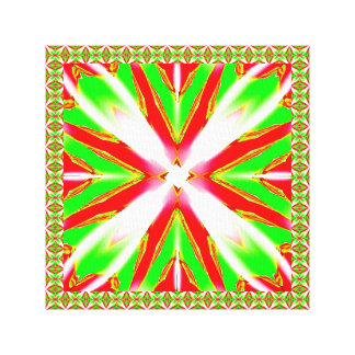 Coral Red & White & Lime Green Abstract Wrapped Ca Canvas Print