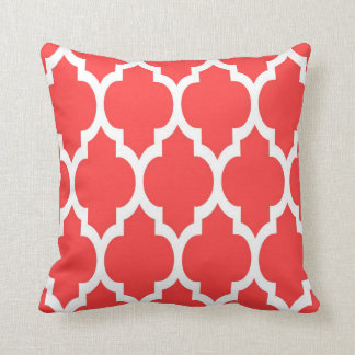Coral Red White Moroccan Quatrefoil Pattern #4 Pillows