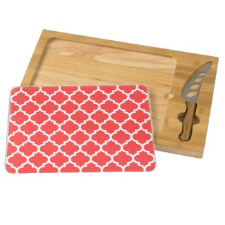 Coral Red White Moroccan Quatrefoil Pattern #5 Rectangular Cheeseboard