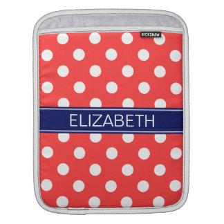 Coral Red White Polka Dots #2 Navy Name Monogram iPad Sleeve