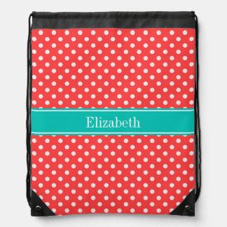 Coral Red, White Polka Dots Teal Name Monogram Drawstring Bag