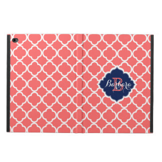 Coral-Red & White Quatrefoil Geometric Pattern Powis iPad Air 2 Case
