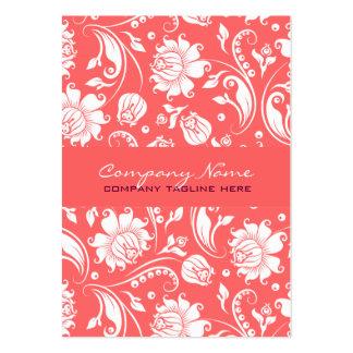 Coral Red White Vintage Floral Damasks 2 Business Cards