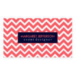 Coral-Red & White Zigzag Chevron, Blue Accents Business Card Templates