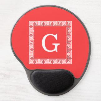 Coral Red Wht Greek Key Frame #1 Initial Monogram Gel Mouse Mat