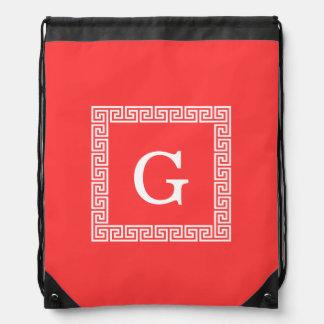 Coral Red Wht Greek Key Frame #1 Initial Monogram Backpack