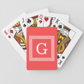 Coral Red Wht Greek Key Frame #1 Initial Monogram Playing Cards