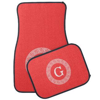 Coral Red Wht Greek Key Rnd Frame Initial Monogram Car Mat