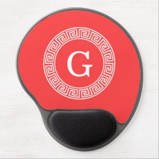 Coral Red Wht Greek Key Rnd Frame Initial Monogram Gel Mousepads