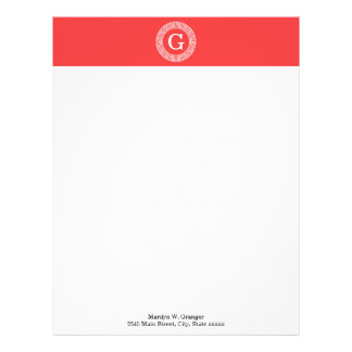 Coral Red Wht Greek Key Rnd Frame Initial Monogram Letterhead