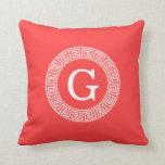 Coral Red Wht Greek Key Rnd Frame Initial Monogram Throw Pillows