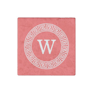 Coral Red Wht Greek Key Rnd Frame Initial Monogram Stone Magnet