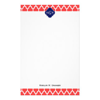 Coral Red Wht Moroccan #4 Navy Name Monogram Stationery