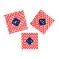Coral Red Wht Moroccan #5 Navy 3 Initial Monogram Acrylic Tray