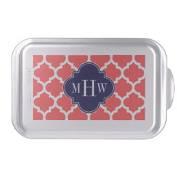 Coral Red Wht Moroccan #5 Navy 3 Initial Monogram Cake Pan