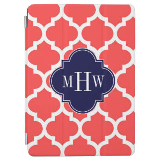 Coral Red Wht Moroccan 5 Navy 3 Initial Monogram iPad Air Cover