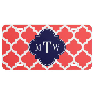 Coral Red Wht Moroccan #5 Navy 3 Initial Monogram License Plate