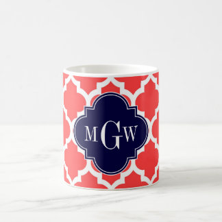 Coral Red Wht Moroccan #5 Navy 3 Initial Monogram Classic White Coffee Mug