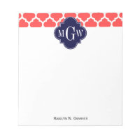 Coral Red Wht Moroccan #5 Navy 3 Initial Monogram Notepad