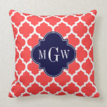 Coral Red Wht Moroccan #5 Navy 3 Initial Monogram Throw Pillow